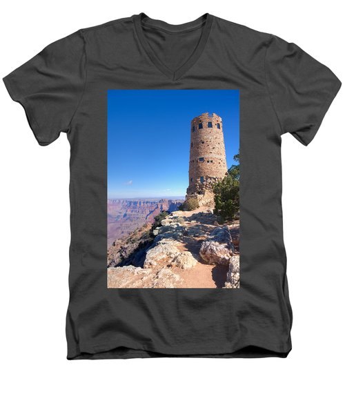 Men's V-Neck T-Shirt featuring the photograph The Watchtower by John M Bailey