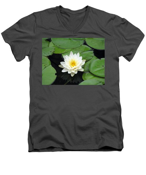 Men's V-Neck T-Shirt featuring the photograph The Water Lilies Collection - 01 by Pamela Critchlow
