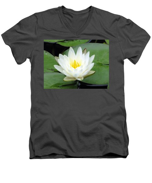 Men's V-Neck T-Shirt featuring the photograph The Water Lilies Collection - 04 by Pamela Critchlow