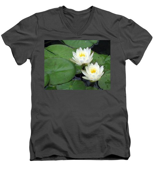 Men's V-Neck T-Shirt featuring the photograph The Water Lilies Collection - 06 by Pamela Critchlow