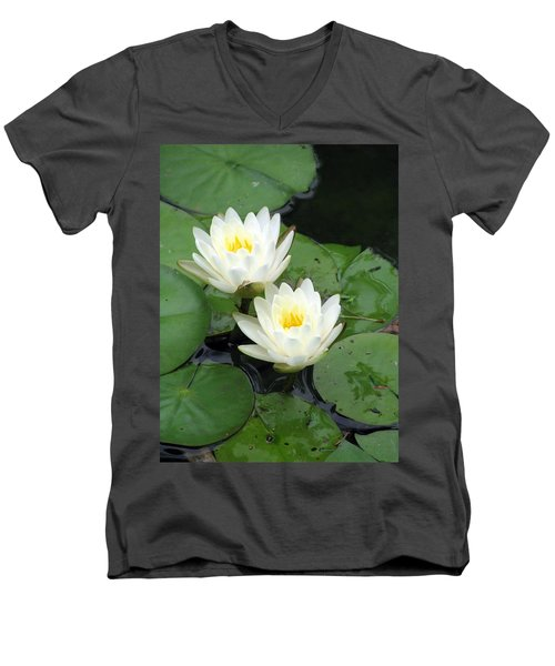 Men's V-Neck T-Shirt featuring the photograph The Water Lilies Collection - 07 by Pamela Critchlow