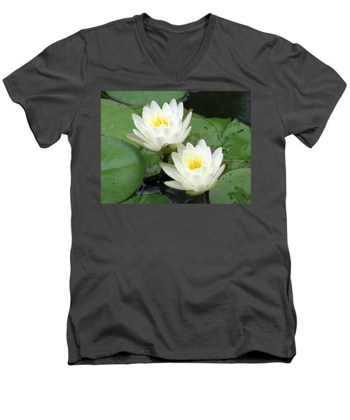 Men's V-Neck T-Shirt featuring the photograph The Water Lilies Collection - 08 by Pamela Critchlow