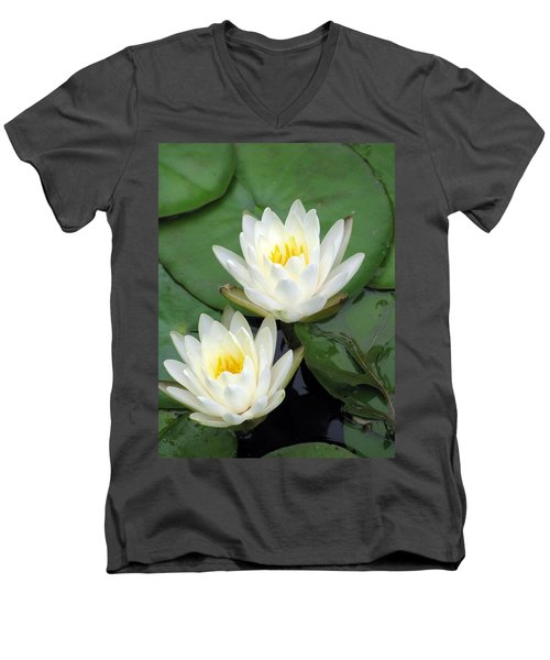 Men's V-Neck T-Shirt featuring the photograph The Water Lilies Collection - 12 by Pamela Critchlow