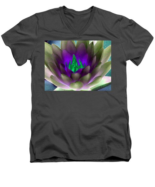 Men's V-Neck T-Shirt featuring the photograph The Water Lilies Collection - Photopower 1117 by Pamela Critchlow
