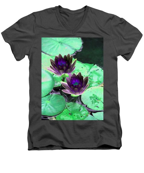 Men's V-Neck T-Shirt featuring the photograph The Water Lilies Collection - Photopower 1119 by Pamela Critchlow
