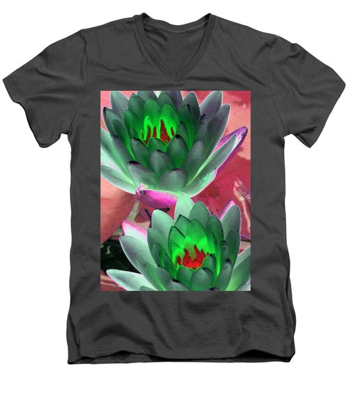 Men's V-Neck T-Shirt featuring the photograph The Water Lilies Collection - Photopower 1121 by Pamela Critchlow