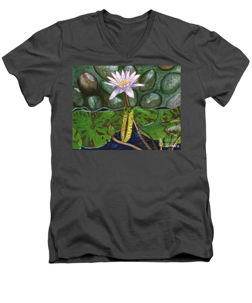 Men's V-Neck T-Shirt featuring the painting The Waterlily by Laura Forde