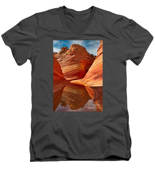Men's V-Neck T-Shirt featuring the photograph The Wave With Reflection by Jerry Fornarotto
