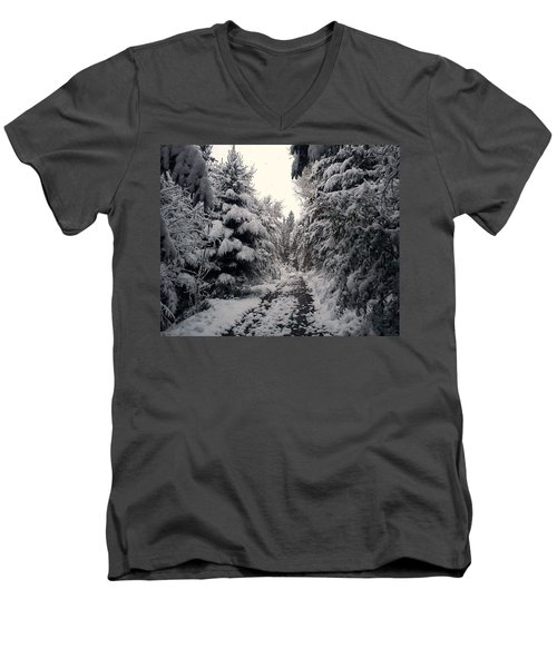 Men's V-Neck T-Shirt featuring the photograph The Way In Snow by Felicia Tica