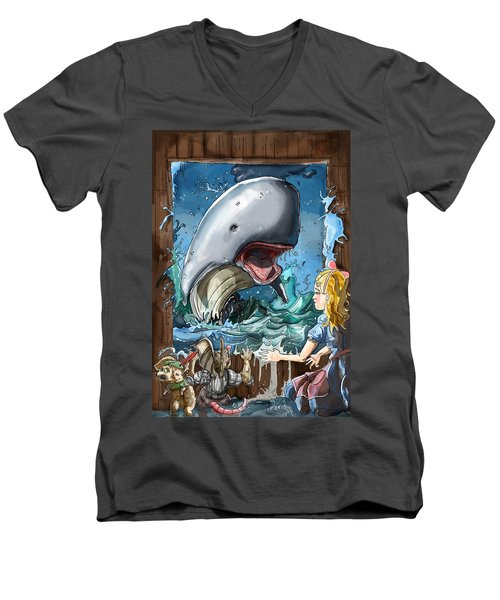 Men's V-Neck T-Shirt featuring the painting The Whale by Reynold Jay