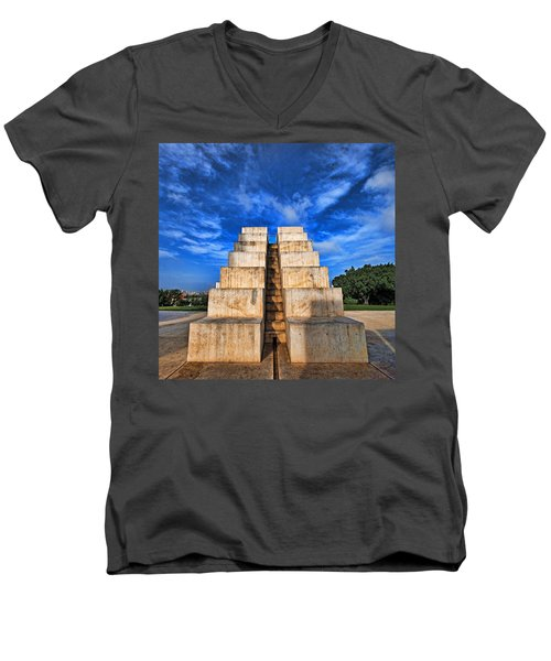 Men's V-Neck T-Shirt featuring the photograph The White City by Ron Shoshani