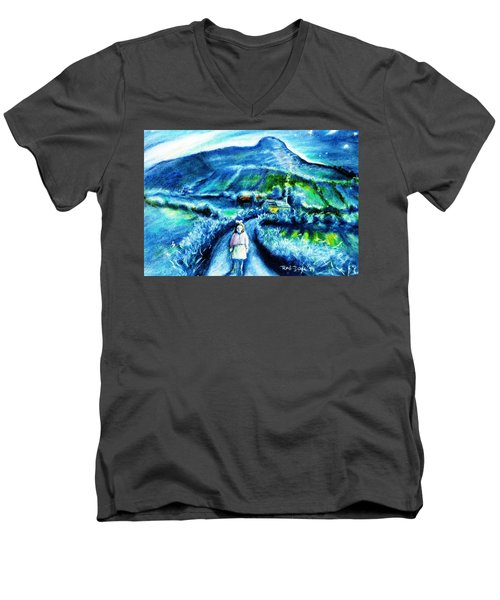 The White Ribbon - Eagle Hill  Men's V-Neck T-Shirt by Trudi Doyle