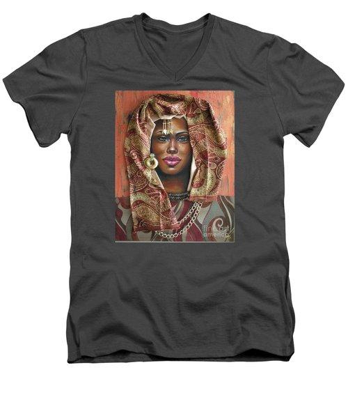Men's V-Neck T-Shirt featuring the painting The Whole Story Behind Her Hazel Eyes by Alga Washington