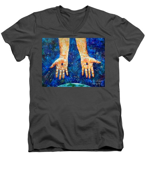 The Whole World In His Hands Men's V-Neck T-Shirt by Lou Ann Bagnall