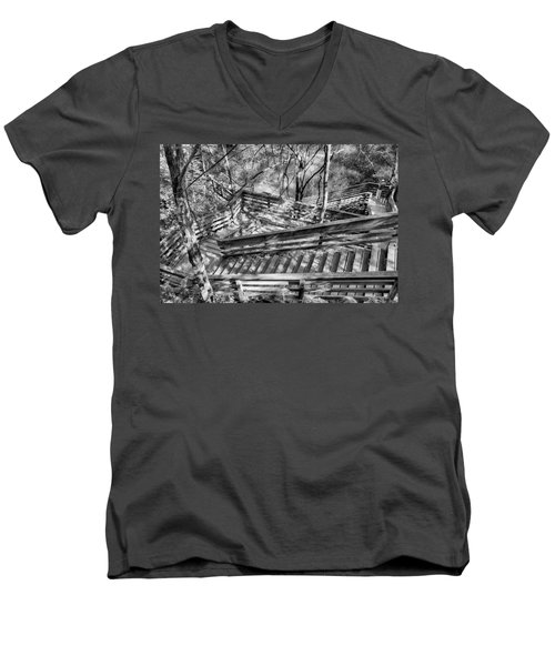 The Winding Stairs Men's V-Neck T-Shirt by Howard Salmon