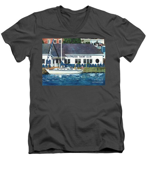 Men's V-Neck T-Shirt featuring the painting The Yacht Club by LeAnne Sowa