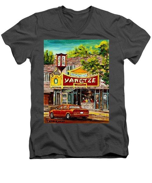 The Yangtze Restaurant On Van Horne Avenue Montreal  Men's V-Neck T-Shirt
