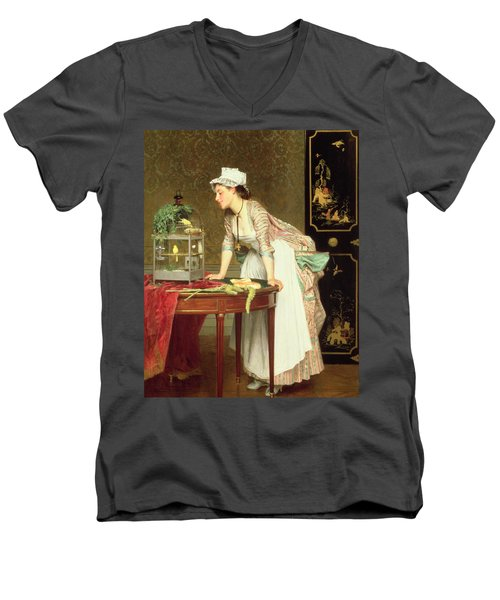 The Yellow Canaries Men's V-Neck T-Shirt by Joseph Caraud