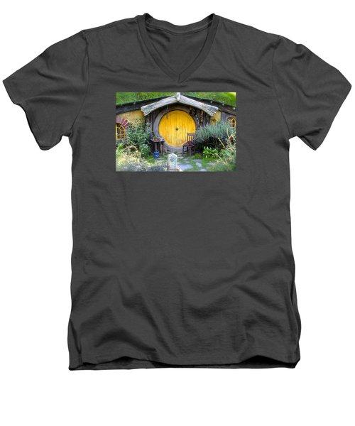The Yellow Hobbit Door Men's V-Neck T-Shirt by Venetia Featherstone-Witty