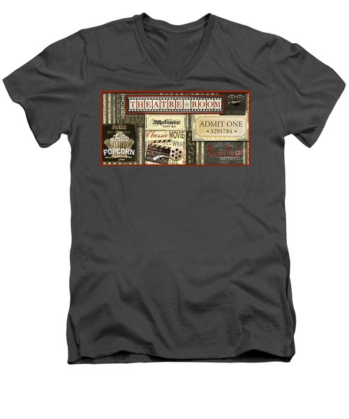 Theatre Room Men's V-Neck T-Shirt by Jean Plout