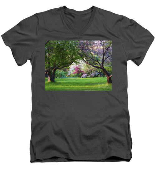 There Is No Place Like Spring Men's V-Neck T-Shirt by Judy Via-Wolff