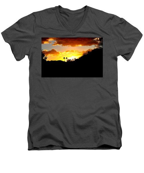 There's Gold In Them Thar Hills Men's V-Neck T-Shirt by Jay Milo