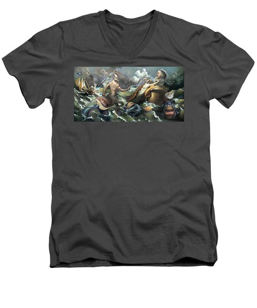 There's Something Fowl Afloat Men's V-Neck T-Shirt by Patrick Anthony Pierson