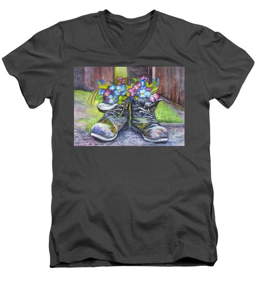 These Boots Were Made For Planting Men's V-Neck T-Shirt by Carol Wisniewski