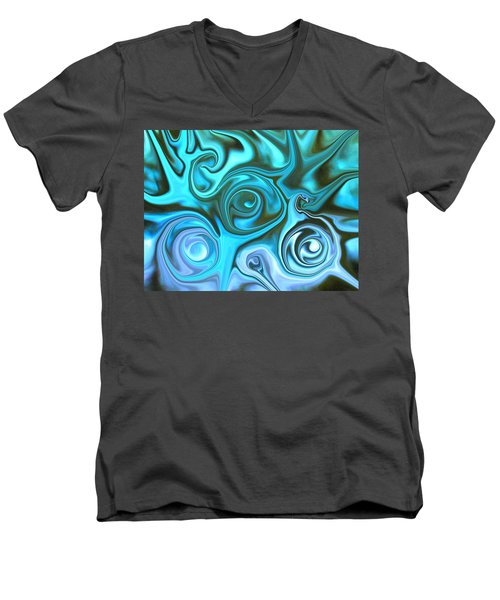 Turquoise Swirls Men's V-Neck T-Shirt by Susan Carella