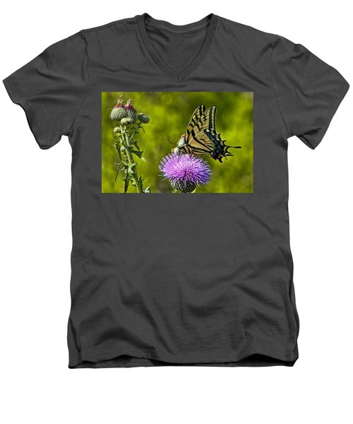 Men's V-Neck T-Shirt featuring the photograph Thistle Do Just Fine by Gary Holmes