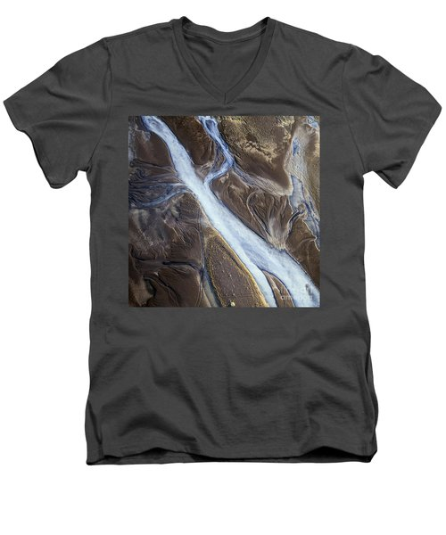 Men's V-Neck T-Shirt featuring the photograph Thjosa by Gunnar Orn Arnason