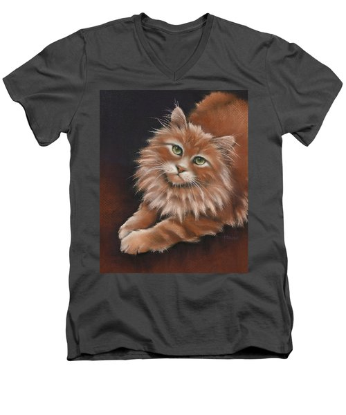 Men's V-Neck T-Shirt featuring the drawing Thomas by Cynthia House