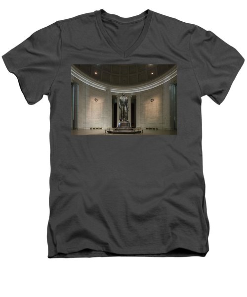 Men's V-Neck T-Shirt featuring the photograph Thomas Jefferson Memorial At Night by Sebastian Musial