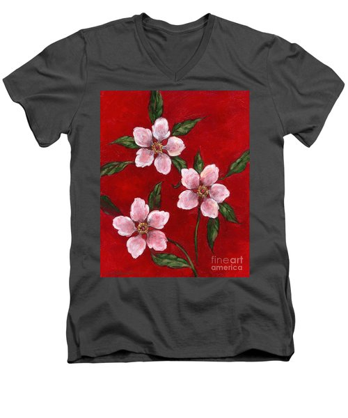 Three Blossoms On Red Men's V-Neck T-Shirt