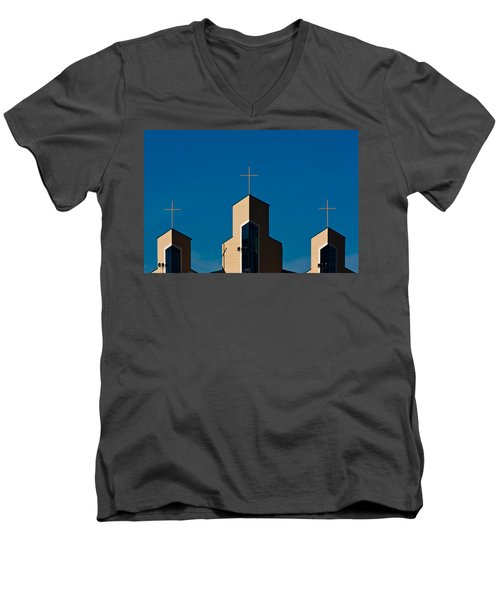 Men's V-Neck T-Shirt featuring the photograph Three Crosses Of Livingway Church  by Ed Gleichman
