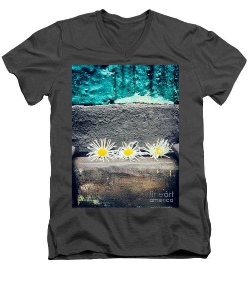 Men's V-Neck T-Shirt featuring the photograph Three Daisies Stuck In A Door by Silvia Ganora