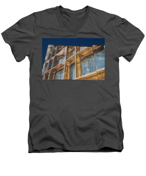 Three Dimensional Optical Illusions - Trompe L'oeil On A Brick Wall Men's V-Neck T-Shirt