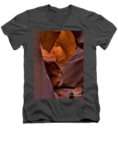 Men's V-Neck T-Shirt featuring the photograph Three Faces In Sandstone by Mae Wertz