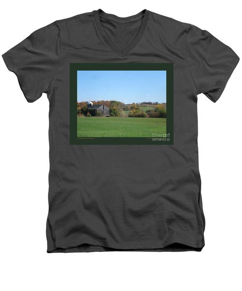 Men's V-Neck T-Shirt featuring the photograph Three Farms In Autumn by Patricia Overmoyer