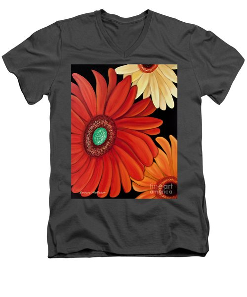 Men's V-Neck T-Shirt featuring the painting Three Gerbera by Barbara McMahon