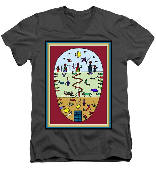 Men's V-Neck T-Shirt featuring the digital art Three Layers Of Life by Vagabond Folk Art - Virginia Vivier