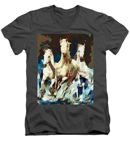 Three Lipizzans Men's V-Neck T-Shirt