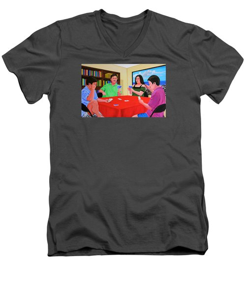 Three Men And A Lady Playing Cards Men's V-Neck T-Shirt