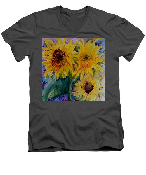 Three Sunflowers Men's V-Neck T-Shirt by Beverley Harper Tinsley