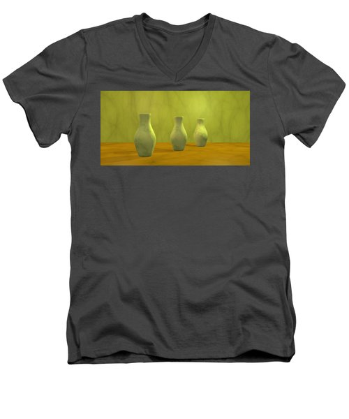 Men's V-Neck T-Shirt featuring the digital art Three Vases II by Gabiw Art