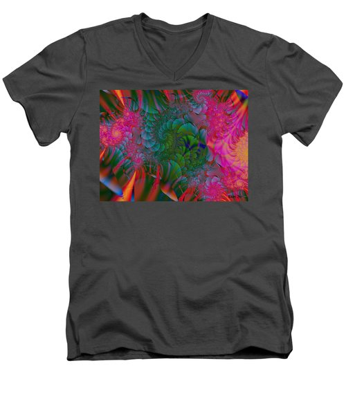 Men's V-Neck T-Shirt featuring the digital art Through The Electric Garden by Elizabeth McTaggart