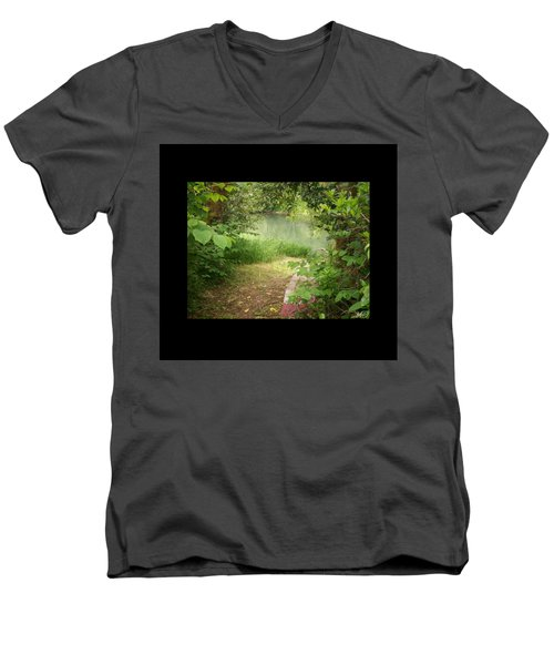 Through The Forest At Water's Edge Men's V-Neck T-Shirt by Absinthe Art By Michelle LeAnn Scott