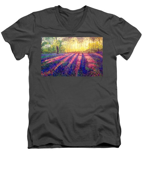 Men's V-Neck T-Shirt featuring the painting Through The Light by Belinda Low