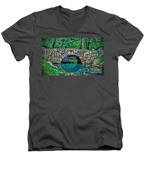 Through The Tunnel Men's V-Neck T-Shirt by Elizabeth Winter