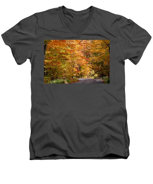 Men's V-Neck T-Shirt featuring the photograph Through The Woods By D. Perry Lawrence by David Perry Lawrence